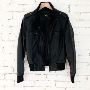 Faux Leather Bomber Jacket - L